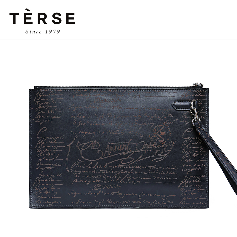TERSE 2018 New Handbags For Men Genuine Leather Clutches With Engraving Thin Large Capacity Handbag 5 Colors Vintage Bags DT0401