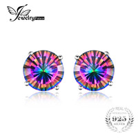 Natural Mystic Rainbow Topaz Earrings Stud For Girls Genuine Pure Solid 925 Sterling Silver Round Brand
