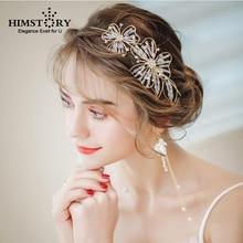 Handmade Flower Tiara HAairband Crystal Beaded Bride Crown Wedding Hair Accessories Hairband Diadem Jewelry