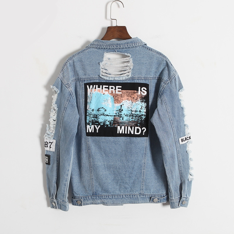2017 Harajuku autumn winter Korea retro washing frayed embroidery letter patch jeans bomber jacket Light Blue Ripped Denim Coat