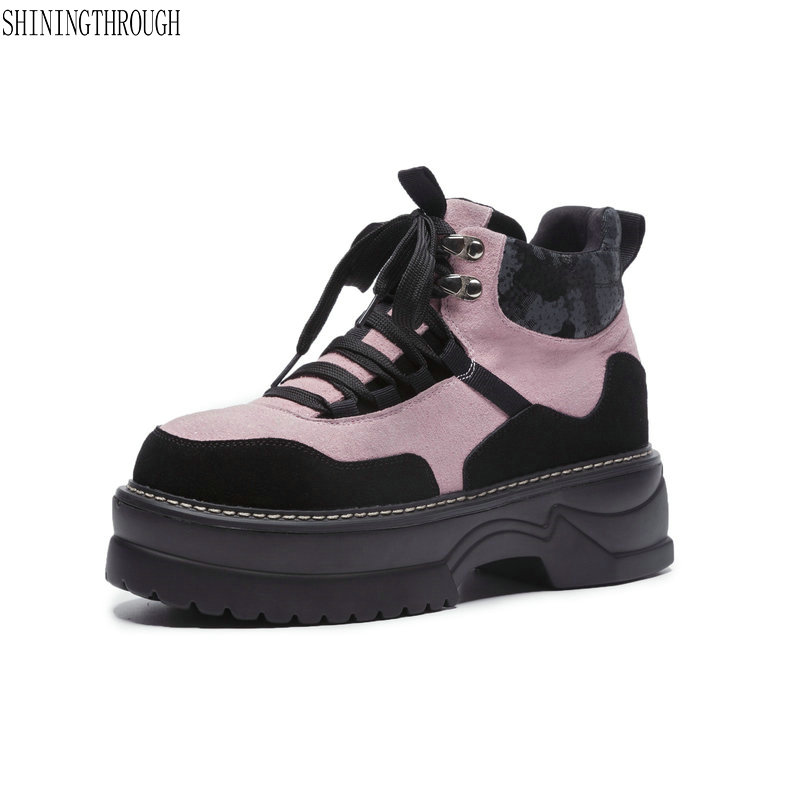 Women Booties Ankle Motorcycle Boots Goth Punk Style Creeper Shoes Womens Platform Wedge Boots Black pink women Lace Up Boots цены онлайн