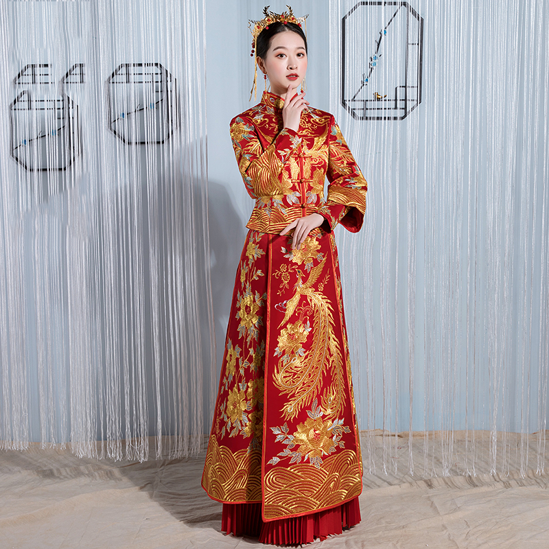 Large Size 3XL-6XL Asian Bride Wedding Evening Party Cheongsam Elegant Women Stage Performance Dress Full Length Qipao Vestidos