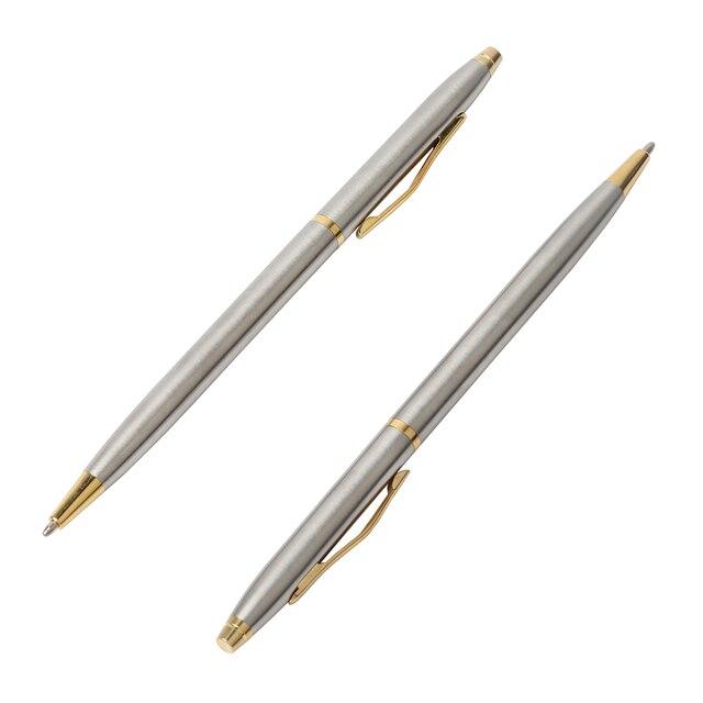 1 pièces Baikingift classique haute qualité spin stylo tige en acier inoxydable rotatif métal stylo à bille papeterie stylos à bille écriture 0.7mm