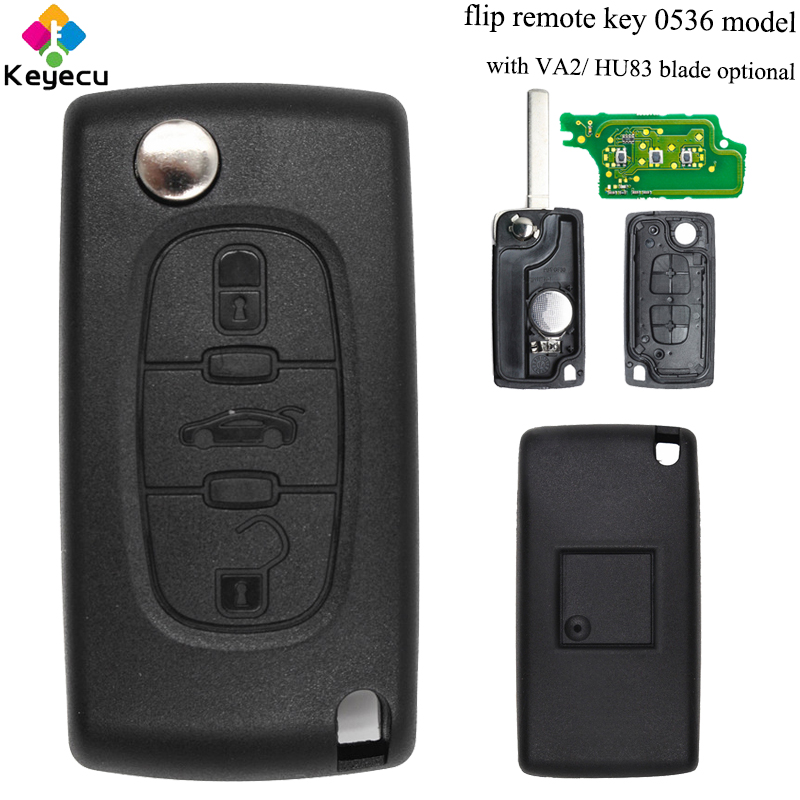 KEYECU Flip Remote Control Car Key With 3 Buttons& 433MHz& ID46 Chip - FOB for <font><b>Peugeot</b></font> 207 207CC 307 308 Before 2011 Model: <font><b>0536</b></font> image