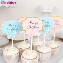 10pcs Happy Birthday Cupcake Topper 1st Birthday Party Decorations Baby Girl First Birthday Boy Party My One Year Supplies