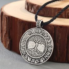 CHENGXUN Talisman Male Viking Protection Necklace Norse Odin's Symbol of Runes Tree Pendant 2 Colors Retro Jewelry(China)