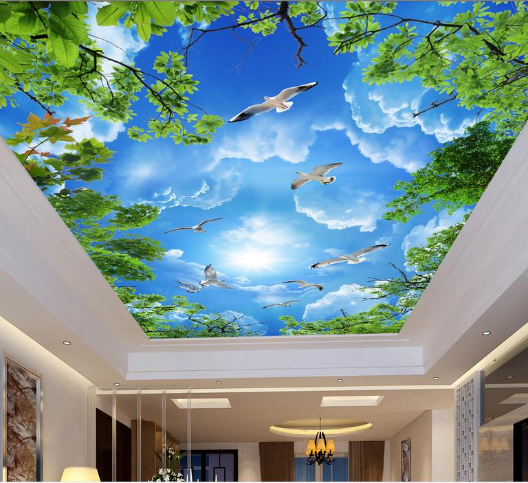 custom newest 3D wallpaper on the ceiling White clouds green leaves 3d ceiling wallpaper for living room sky ceiling коврик игровой nattou alex