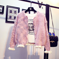 Sweater coat female cardigan Korean loose sweater short paragraph sweet wood ear students spring and autumn jacket women