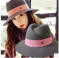 Free shipping fashion lady British retro wild M printed wide brim floppy hat woman wool felt hat blank wholesale