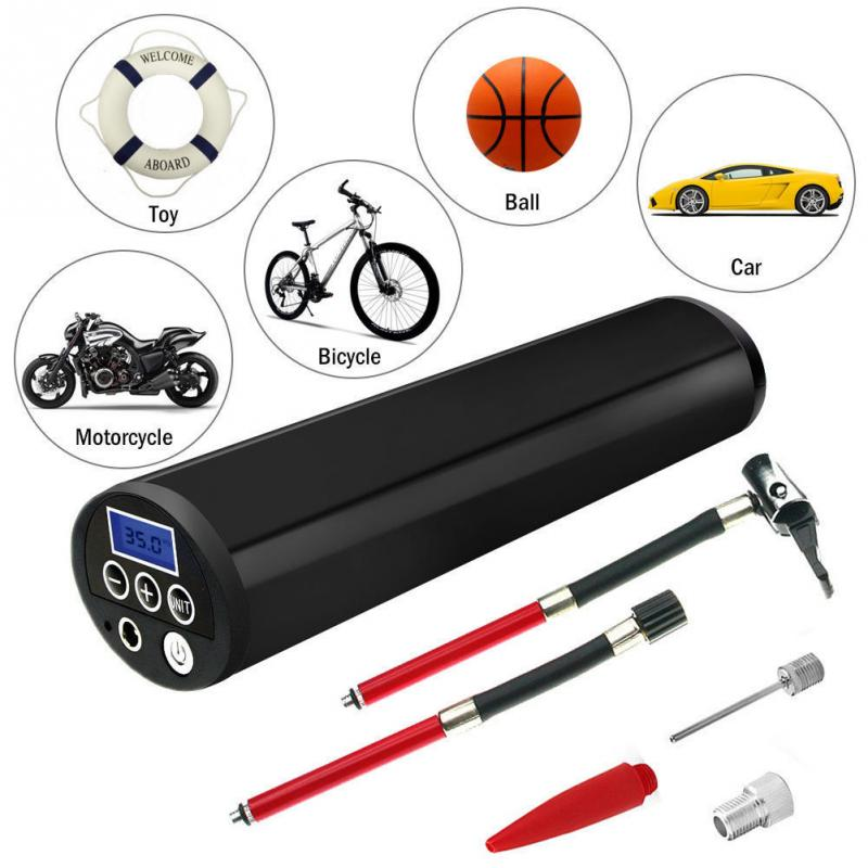 Bike Tire Pump Rechargeable Electric Portable Car Bicycle Pump Tire Tyre Inflator 120 PSI Mini Air Inflator With LCD Display 1pcs 12v rechargeable portable electric car bike pump air compressor tire inflator high quality