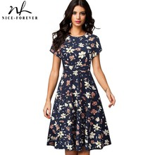 Nice forever vestido de verano de mujer, Retro, flor solar estampada, fiesta de negocios, acampanado