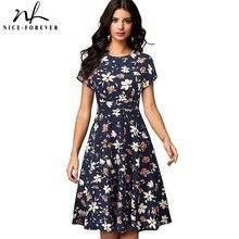 Nicea na zawsze w stylu Vintage Retro słońce kwiat drukowane vestidos biznes Party kobiet Flare huśtawka lato kobiety sukienka btyA102