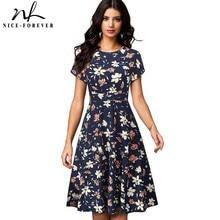 素敵な永遠のヴィンテージレトロサングラスフラワープリント vestidos ビジネスパーティー女性フレアスイング夏の女性 btyA102