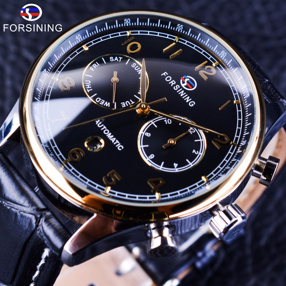 Forsining 2017 Calendar Display Luxury Business Series Genuine Leather Strap Mens Watches Top Brand Luxury Automatic Male Clock forsining noble series swirl dial suede strap 6 hands calendar display mens watches top brand luxury mechanical watch clock men