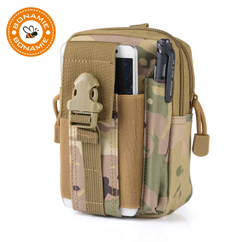 BONAMIE New Men Pouch Belt Waist Pack Bag Small Pocket Military Waist Pack Pouch Travel Bags Soft Back High Quality