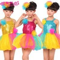 جديد أزياء الأطفال ازياء مطرزة توتو فساتين جميلة المرحلة ملابس الرقص الشعبي الصيني s ، m ، l ، xl الأزرق الأصفر الأحمر