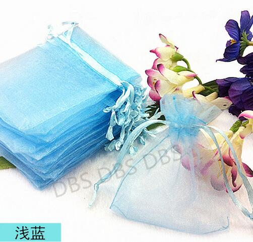 Free Shipping 50 Pcs Organza Wedding Favour Bags Jewellery Pouches Blue