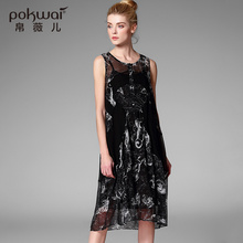 POKWAI Midi Vintage Summer Silk Linen Dress Women High Quality Women Fashion 2017 New Arrival Sleeveless O-Neck Tank Dresses