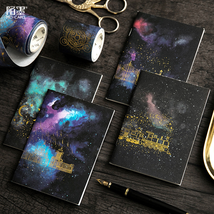Galaxy Notebook Mini Size Sqaured/Blank/ Weekly Plan/Ruled Portable Notebook Passport Size Bullet Journal Note Pad