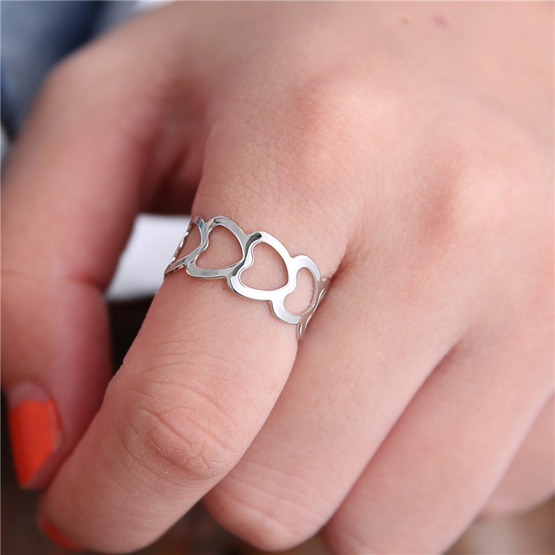 19 New Fashion Silver Hollow Heart-Shaped Opening Ring For Women Punk Alloy Finger Rings Simple Boho Jewelry 2