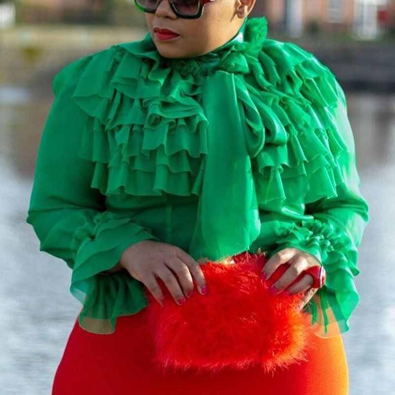 夏カジュアルグリーンプラスサイズエレガントなパーティーブラウス女性 2019 ファルバラトップススリムアフリカオフィスの女性の女性ファッションシャツ