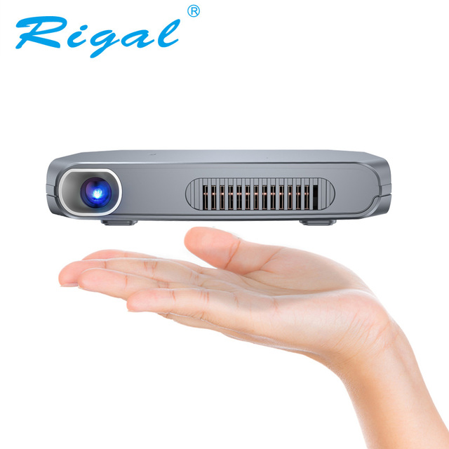 Cheap Rigal RD603 Mini DLP Projector Android WiFi Bluetooth (Optional) LED HD Shutter Active 3D LED Home Theater HDMI USB Projector