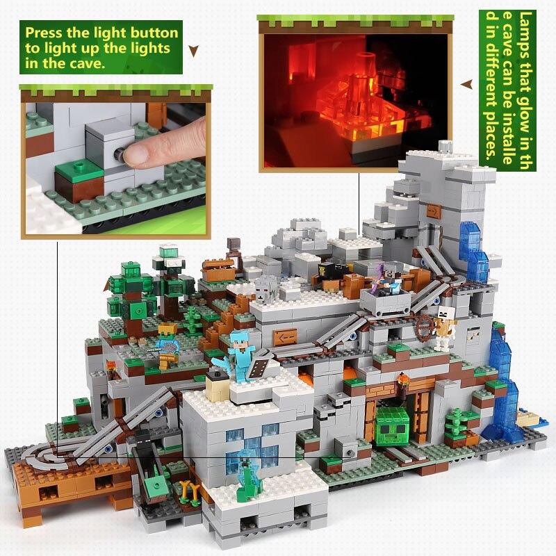 LEPIN 18032 Modèle Kit de Construction Blocs Briques mécanisme 3043 pcs La Montagne Grotte Mon mondes Compatible avec 21137 cadeaux d'anniversaire