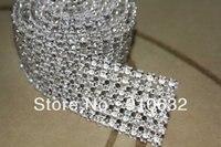 1 Yard Diamond 6 Rijen 5mm Een Grade Real Rhinestone Crystal Wedding Cake Banding Trim Cake Lint Naaien Voor Schoenen Kleding