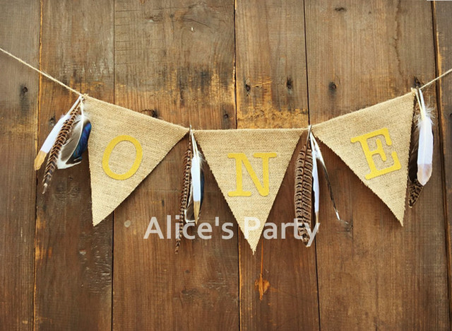 New Jungle Feather Birthday Highchair Banner Wild Gold One Bunting Garland Baby Shower Photo Prop Shoot Decoration Smash Cake In Banners Streamers