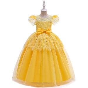 Бальное платье для девочек, длинное желтое кружевное платье для свадьбы, вечеринки на день рождения, платья для причастия, 2019