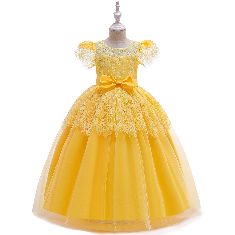 Beauty   Ballgown Yellow Long  Lace  Kids  Dresses  Wedding Pageant Dresse Birthday Party Dresses  First Communion Dresses 2019