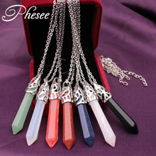 Phesee Trendy Natural Crystal Stone Hexagonal Column Necklace Pendant Necklace Jewelry For Women Bijoux