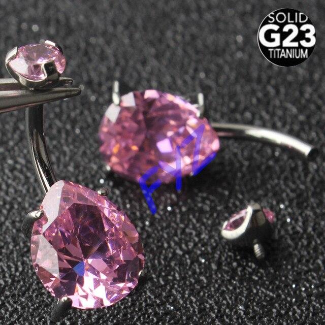 זרוק צורת זירקון G23 טיטניום טבור טבעות 14G פנימי הברגה פירסינג טבור ברים בטן טבעות גוף תכשיטים