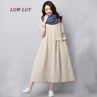 New Fall 2017 Women S Fashion Vintage Loose Big Yards National Wind Linen Cotton Dress High