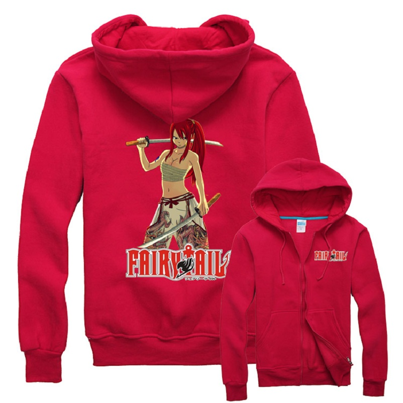 High-Q Unisex Fairy Tail Erza Scarlet Cartoon Cotton Casual Hooded Hoodies Daily Sweatshirts Erza Scarlet Cardigan Jacket Coat