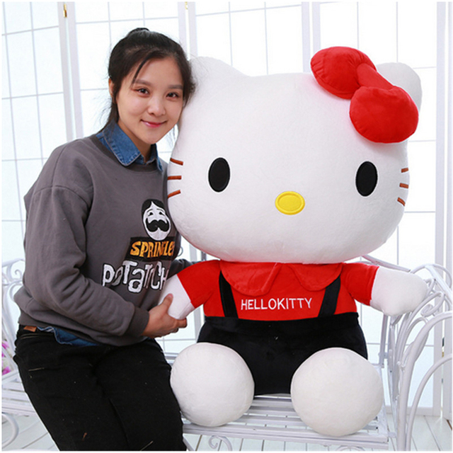 Fancytrader Одетый Hello Kitty Плюшевая Игрушка Кошка Гигантский Прекрасный Чучела Hello Kitty Игрушки Куклы Рождество Подарок На День Рождения Розовый Красный 85 см 33