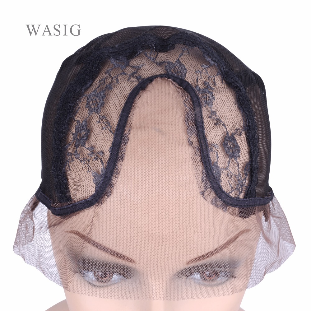 Wig Cap for Making Wigs Full Lace Wig Weaving Cap Mesh Base Stretchy Net with Adjustable Strap Black Hairnets