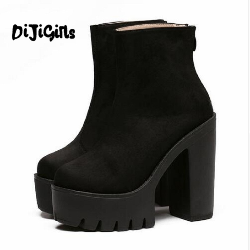 Fashion Boots Women Platform Shoes For Autumn Soft Leather Woman Party Shoes Ankle Boots High Heels 2018 New Black Zipper  brand new suede leather women platform boots famous designer high heels dress shoes woman gladiator luxury women ankle boots