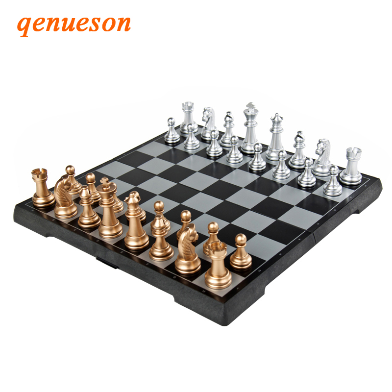 High Grade Golden Silve Chessman Folding Magnetic Plastic 2 In 1 Chess Sets Chess Backgammon Chessboard