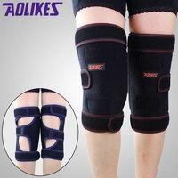 Aolikes 1 par cálido rodilleras con extraíble cojín de felpa caliente vendaje ayuda de la rodilla compresión conjunta protección para al aire libre