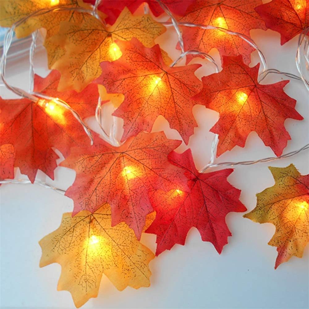 10/20 Leds Fall Maple Leaf Garland LED Lights Autumn Leaves Lighted Battery Powered LED String Lights For Thanksgiving Christmas