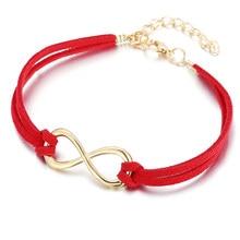 Chenfan bijouterie jewelery vermelho sorte número 8 tecido nó pulseira para feminino manguito pulseira vermelho thread na mão apresenta