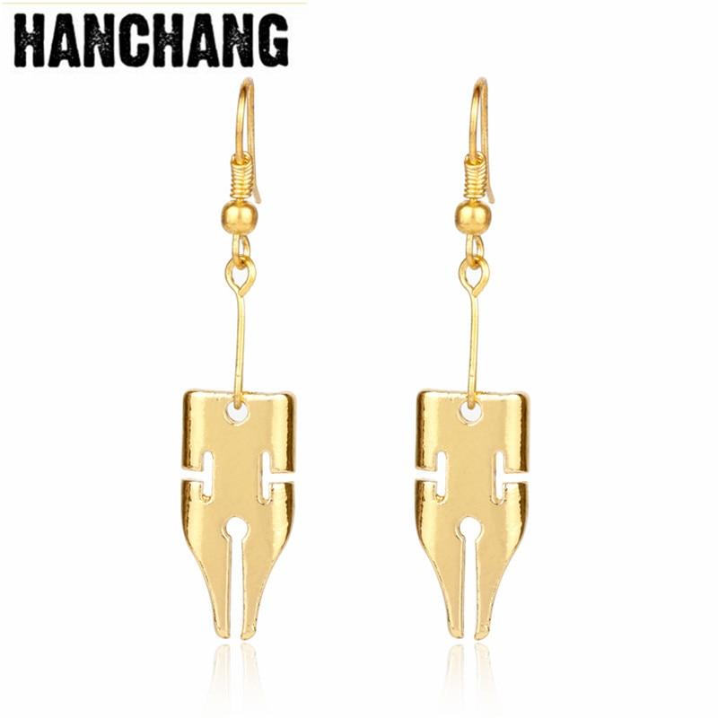Fashion Adventure Rohan Kishibe Pen Earring Jewelry Gold Color Written Pen Nib Writer Drop Earring Wedding Decoration