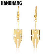 Fashion Asventure Rohan Kishibe Pen Earring Jewelry Gold Color Written Pen Nib Writer Drop Earring Wedding Decoration