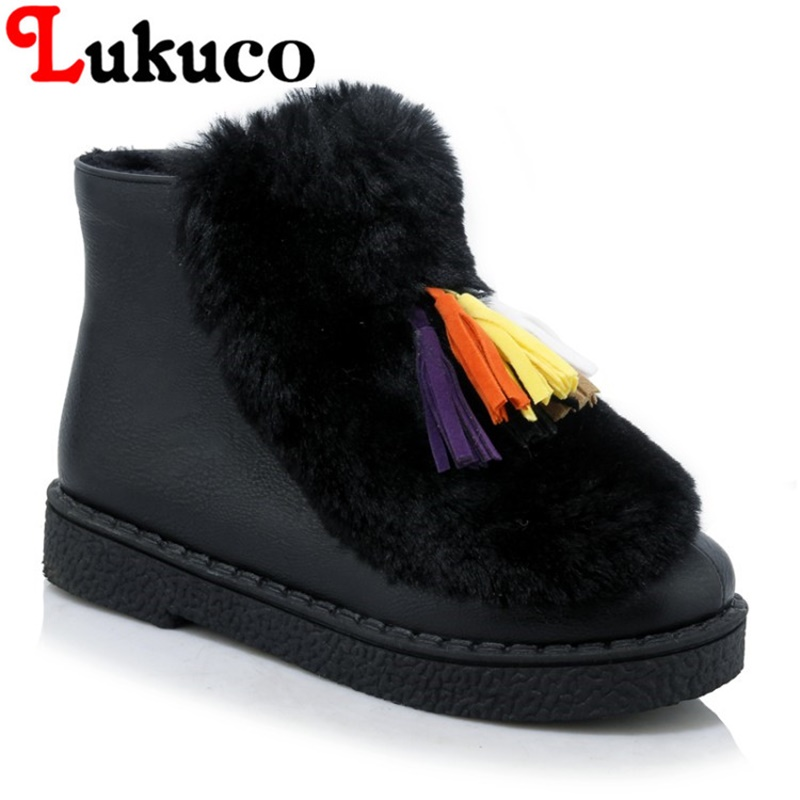 2018 big size 43 44 45 Lukuco LADY SHOES round toe women snow boots zipper design high quality WARM WINTER shoes FREE SHIPPING