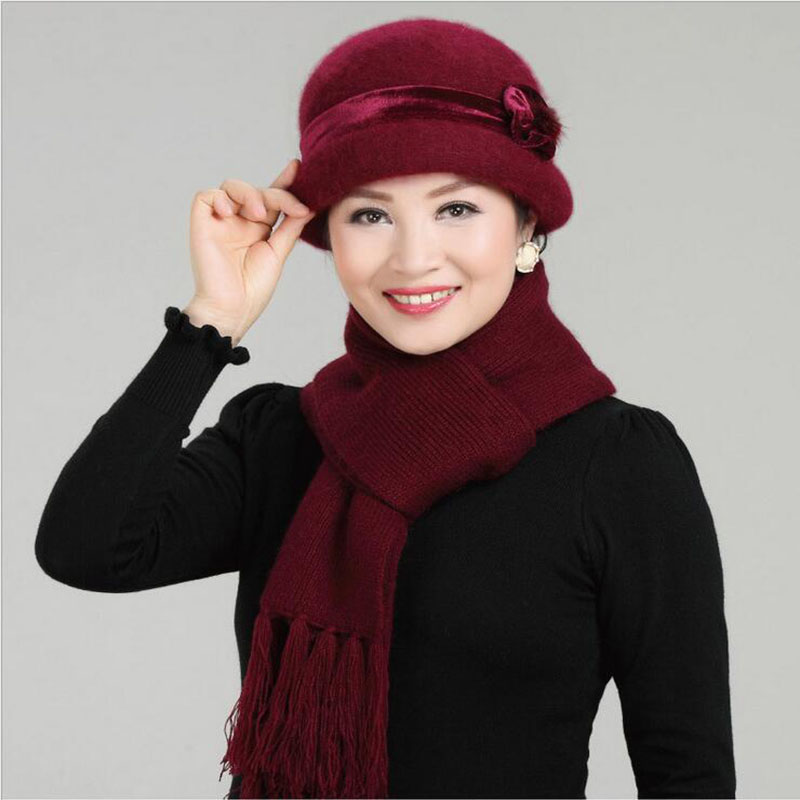 Wool Mixed Rabbit Fur Warm Outdoor Knitted Beanies Baggy Headwear Cap New Fashion Women Winter Hat Sets Floral Skullies