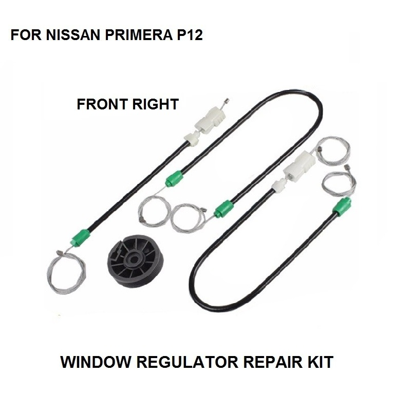 WINDOW REGULATOR REPAIR CABLES AND ROLLER FOR NISSAN PRIMERA P12 FRONT-RIGHT 2002-2015