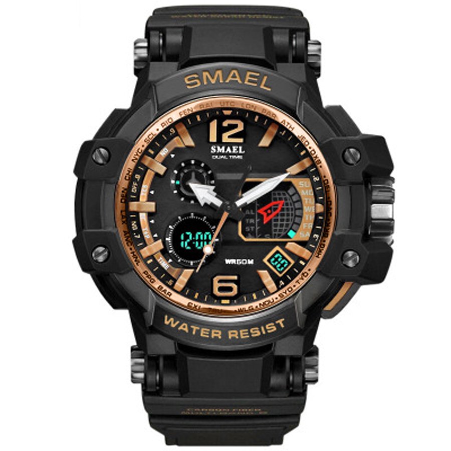 2019 Neuer Stil Mode Herren Uhren Top Brand Luxus Schwarz S-shock Military Uhr Led Digital Quarz Uhr Dual Display Große Dail Armbanduhr