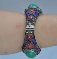 fast shipping>China's Tibet dynasty palace cloisonne silver inlaid jade bracelet, too NR999