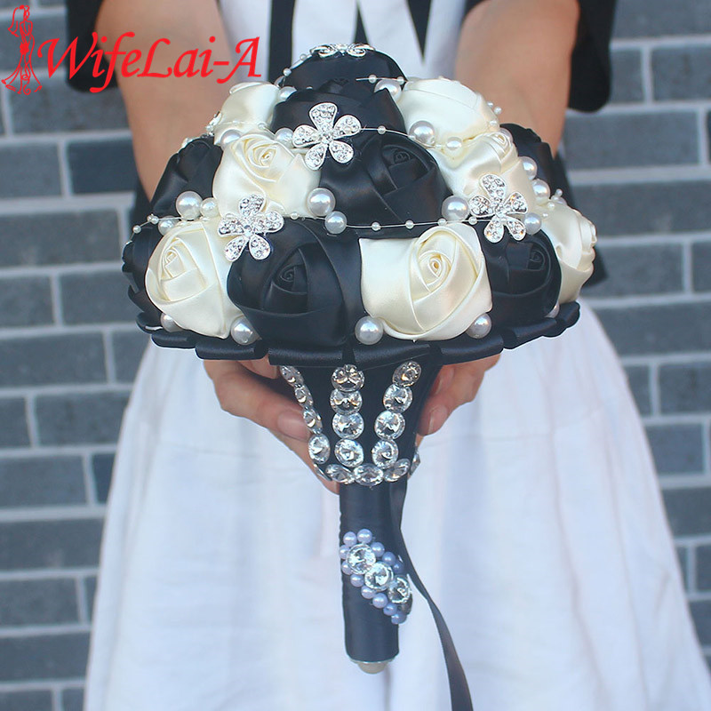 WifeLai-A Black Ivory Silk Artificial Flower Bridal Bouquets Crystal Pearls Bridesmaid Bridal Wedding Bouquets Color Choose W224